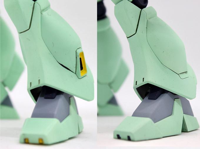 ジェガンBタイプ(F91Ver.)の脚の比較画像です