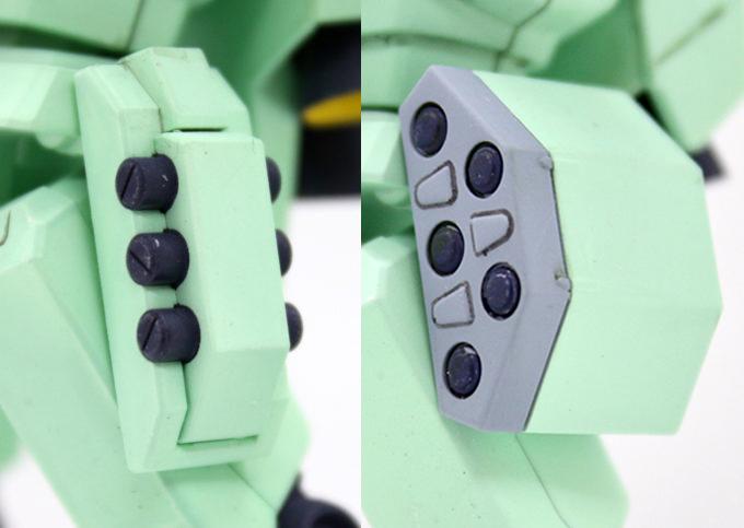ジェガンBタイプ(F91Ver.)の腰横部の比較画像です