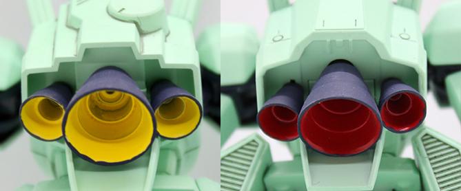ジェガンBタイプ(F91Ver.)のバックパックのバーニアの比較画像です