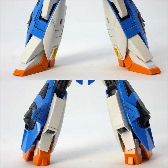 A-Zガンダムの脚部のガンプラレビュー画像です