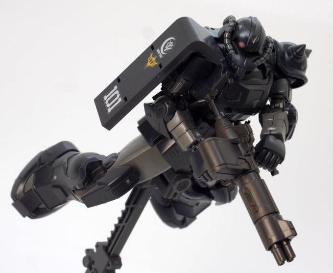 HGアクト・ザク(キシリア部隊機)の武器4連装マシンガンのガンプラレビュー画像です