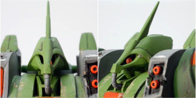 ガルスJのガンプラ(1/144旧キット)の頭部のレビュー画像です