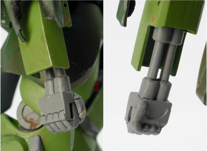 ガルスJのガンプラ(1/144旧キット)の腕のレビュー画像です