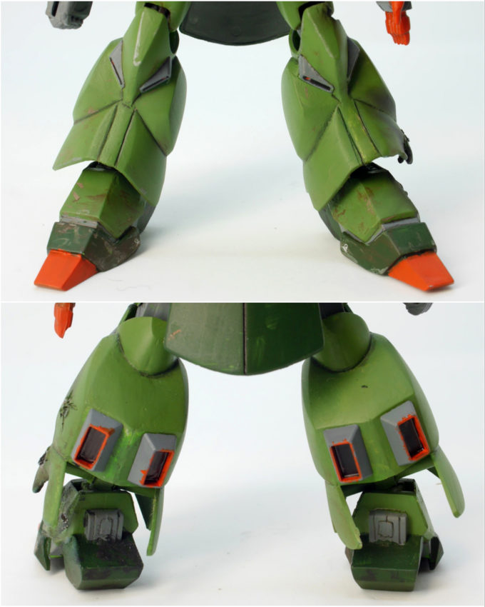 ガルスJのガンプラ(1/144旧キット)の脚部のレビュー画像です