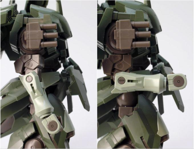 HGBFストライカージンクスの腕可動のガンプラレビュー画像です