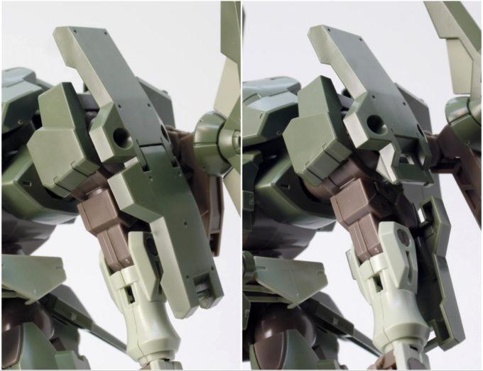 HGBFストライカージンクスの左肩のガンプラレビュー画像です