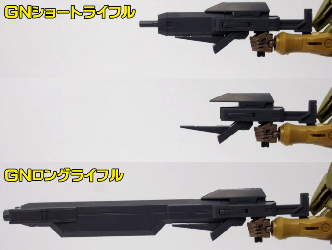HGBFジンクスIVType-GBFのライフル差し替えギミックのガンプラレビュー画像です