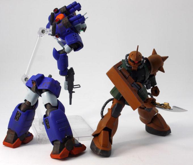 HGUC量産型ガンキャノン(ネメシス隊仕様)とHGUCガルマ・ザビ専用ザクIIのガンプラ改造画像です