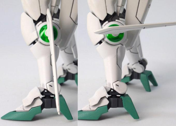 HGBFガンダムポータントの脚部可動のガンプラレビュー画像です