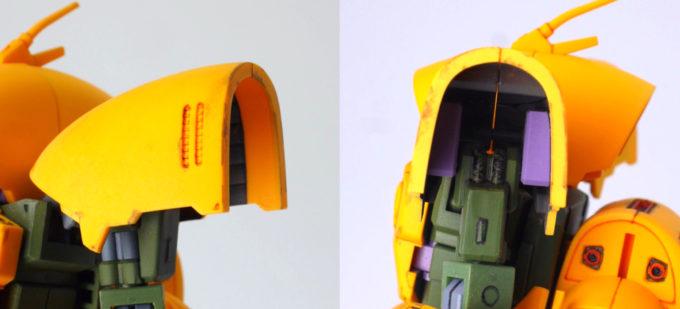 HGUCアッシマーの肩部のガンプラレビュー画像です