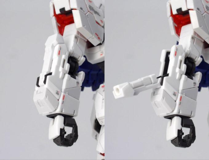 RGユニコーンガンダムの腕部のガンプラレビュー画像です