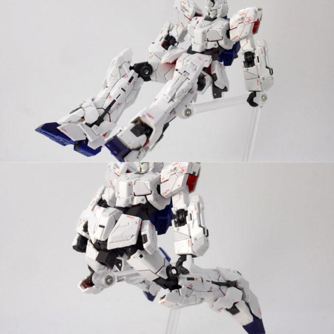 RGユニコーンガンダムの脚可動ギミックのガンプラレビュー画像です