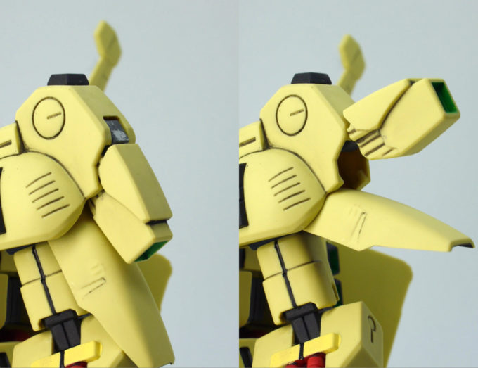 HGUCジ・Oの肩アーマー可動のガンプラレビュー画像です