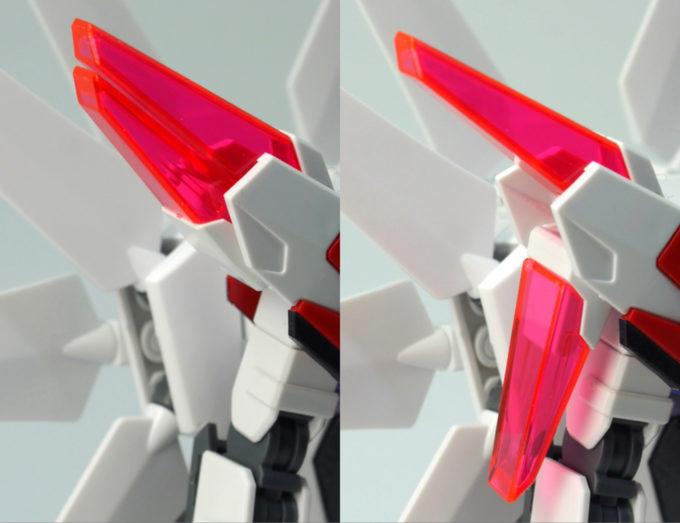 HGビルドストライクガンダムギャラクシーコスモスの肩部のクリアパーツのガンプラレビュー画像です