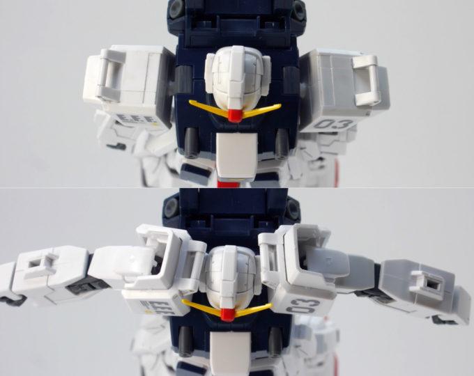 HGUCブルーディスティニー3号機EXAMの肩の可動域のガンプラレビュー画像です