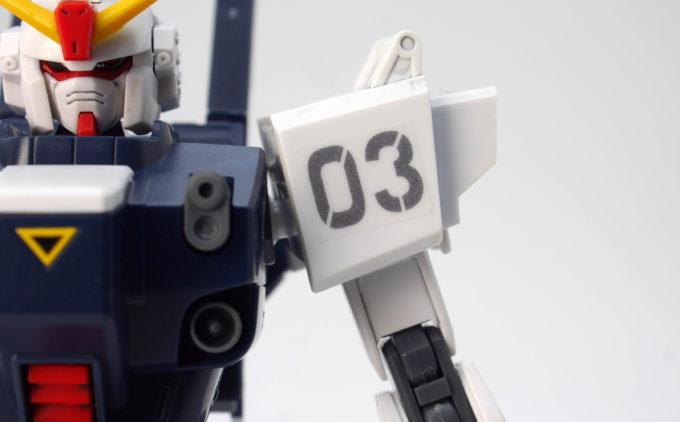 HGUCブルーディスティニー3号機EXAMのシールのガンプラレビュー画像です