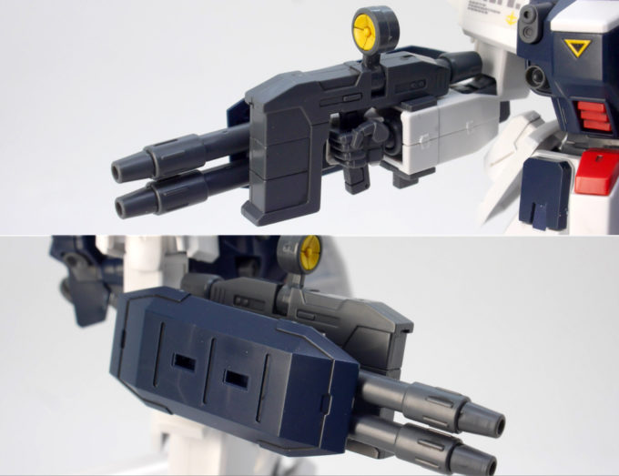 HGUCブルーディスティニー3号機EXAMの2連ビーム砲のガンプラレビュー画像です
