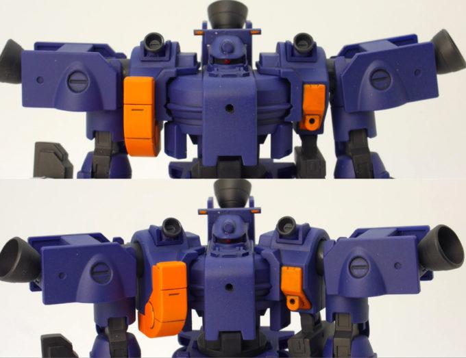 HGティエレン宇宙型の両肩の可動のガンプラレビュー画像です