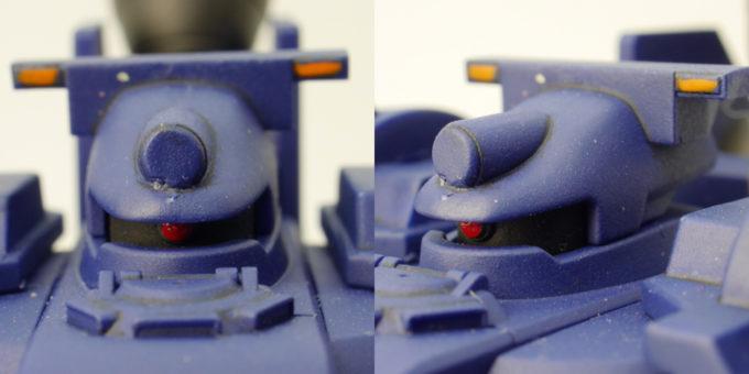 HGティエレン宇宙型の頭部のガンプラレビュー画像です