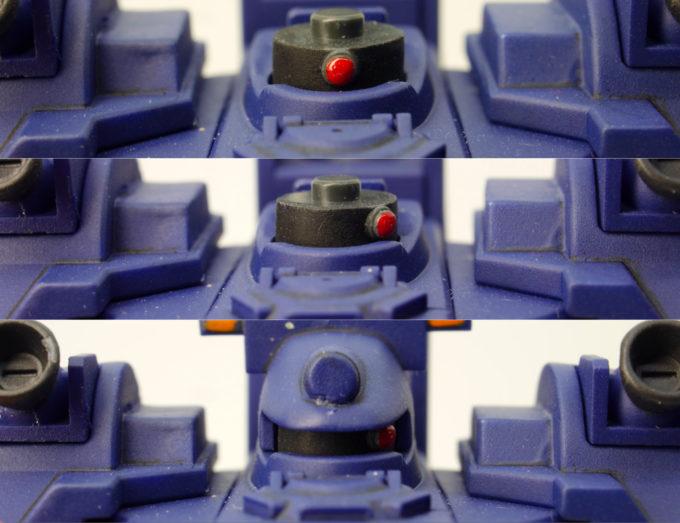 HGティエレン宇宙型のモノアイ可動ギミックのガンプラレビュー画像です