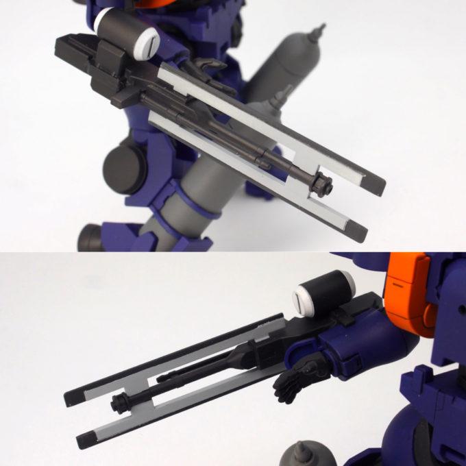 HGティエレン宇宙型の滑腔砲のガンプラレビュー画像です