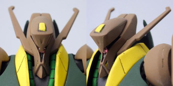 HGUCガブスレイの頭部のガンプラレビュー画像です