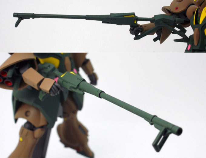 HGUCガブスレイのフェダーインライフルのガンプラレビュー画像です