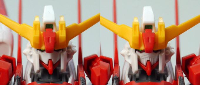 HGBFガンダムM91の頭部のガンプラレビュー画像です