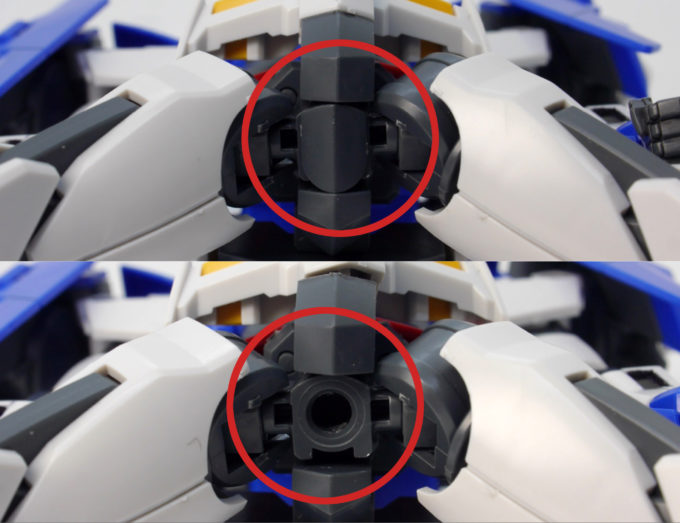 HGBDガンダムダブルオーダイバーの股下のアクションベース用の穴の画像です