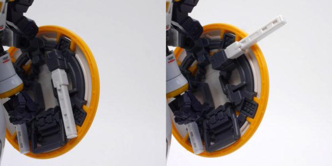 RGトールギスEWのサーベルラックのガンプラ画像です