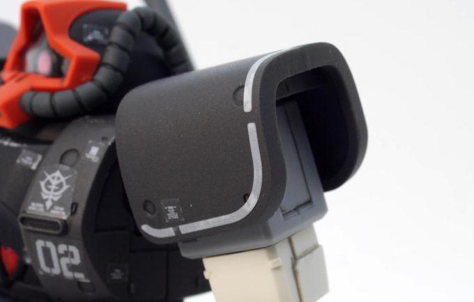 HGドム試作実験機の肩部のガンプラレビュー画像です