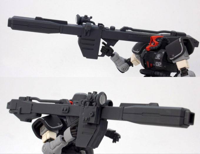 HGドム試作実験機のビーム・バズーカのガンプラレビュー画像です