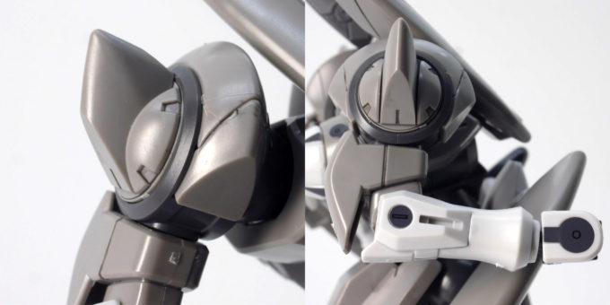 HGジンクスの肩と腕部のガンプラレビュー画像です