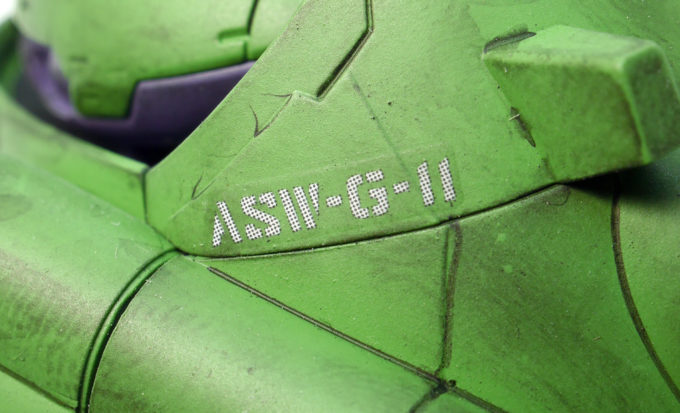 HGガンダムグシオンのガンダムデカールのガンプラレビュー画像です