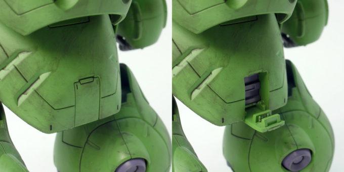 HGガンダムグシオンの90mmサブマシンガンマウントギミックのガンプラレビュー画像です