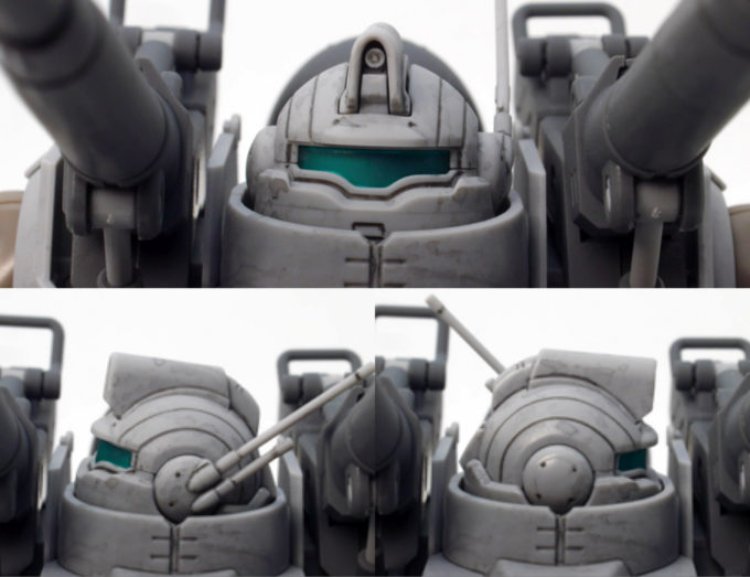 HGガンタンク最初期型の頭部のガンプラレビュー画像です
