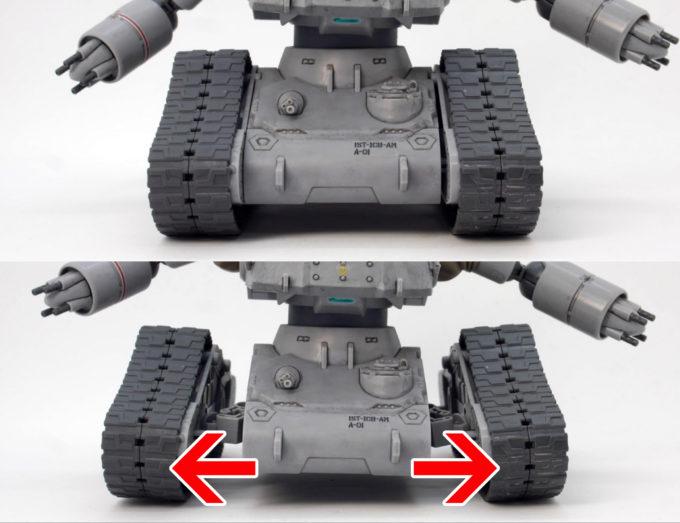 HGガンタンク最初期型の履帯可動のガンプラレビュー画像です