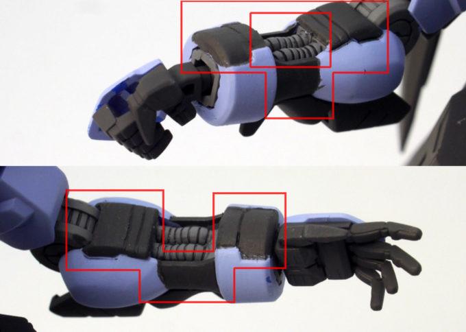 HGガンダムヴィダールの腕のシール部分のガンプラレビュー画像です