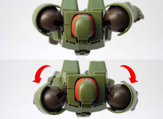 HGACリーオーの肩の可動のガンプラレビュー画像です