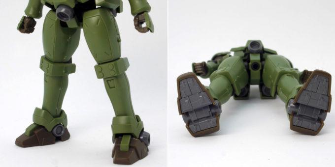 HGACリーオーの脚部と足裏のガンプラレビュー画像です