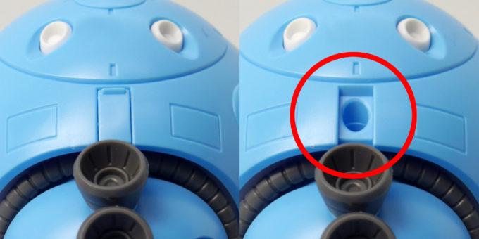 HGBDモモカプルのアクションベース用の穴のガンプラレビュー画像です