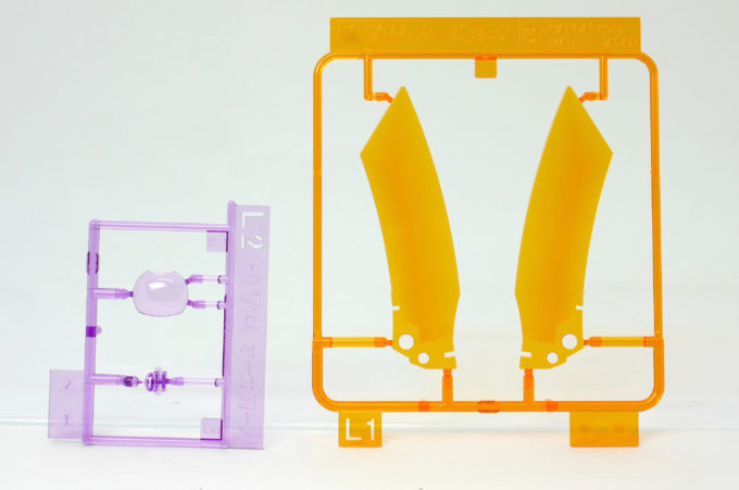 HGBDオーガ刃-Xのクリアパーツのガンプラレビュー画像です