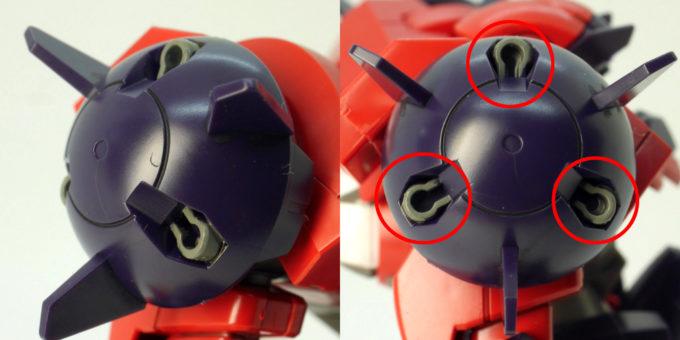 HGBDオーガ刃-Xのタイタス型肩部のガンプラレビュー画像です