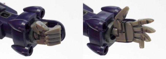 HGBDオーガ刃-XのハンドパーツGNクローのガンプラレビュー画像です