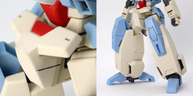 HGBDセラヴィーガンダムシェヘラザードの腰部と脚部のガンプラレビュー画像です