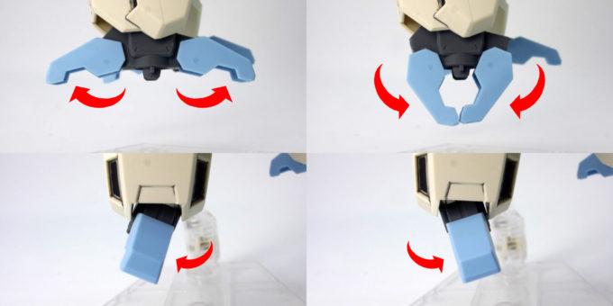 HGBDセラヴィーガンダムシェヘラザードの足先の可動域のガンプラレビュー画像です