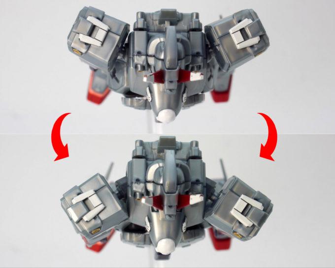 HGUCクロスボーン・ガンダムX0の肩・腕周りの可動域のガンプラレビュー画像です