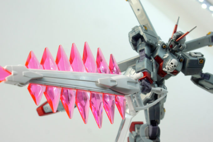 HGUCクロスボーン・ガンダムX0のクジャク・バスターモードのガンプラレビュー画像です