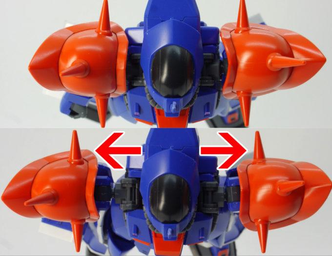 HGUCイフリート改の肩の引き出しギミックの可動ガンプラレビュー画像です