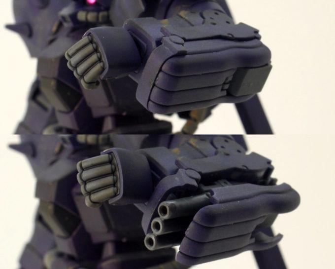 HGUCイフリート・ナハトの3連想ガトリング砲のガンプラレビュー画像です